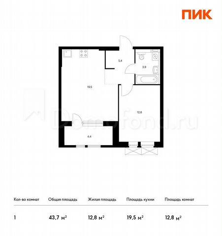Квартира 1-комн. квартира, 43.7 м², 25/33 эт. Москва